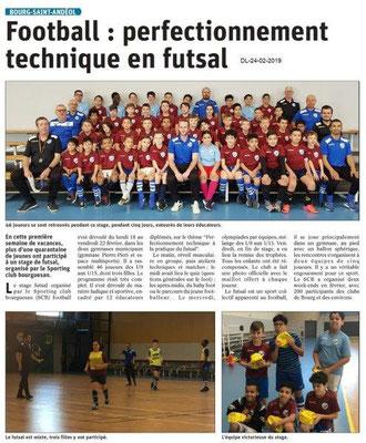 Dauphiné Libéré du 24-02-2019- Futsal à Bourg Saint-Andéol