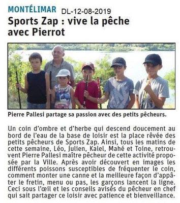 Dauphiné Libéré du 12-08-2019- Pèche ZAP à Montélimar.