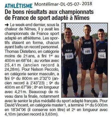 Dauphiné Libéré du 05-07-2018- Résultats Sport-Adapté Athlétisme de Montélimar