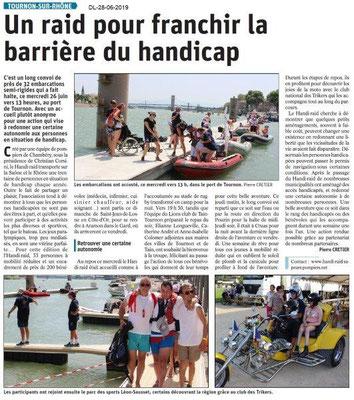 Dauphiné Libéré du 28-06-2019- Handi-raid à Tournon.