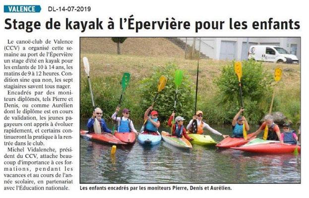 Dauphiné Libéré du 14-07-2019- Canoé-kayak à Valence