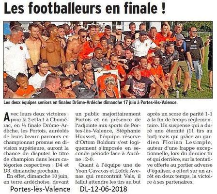 Dauphiné Libéré du 12-06-2016- Footballeurs  Portois en finale