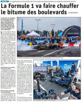 Le Dauphiné Libéré du 09-04-2019- Formle1 à Valence