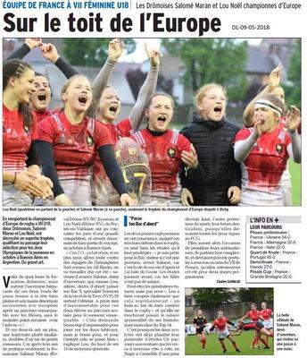 Dauphiné Libéré du 09-5-2018- Equipe de France à VII féminine Rugby