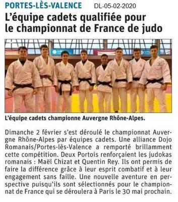 Le Dauphiné Libéré du 05-02-2020-Champion judo Cadets AuRA PLV
