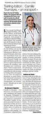 Dauphiné Libéré du 11-11-2018-  Le Trophée Drômois à Camille Twirling Bâton PLV