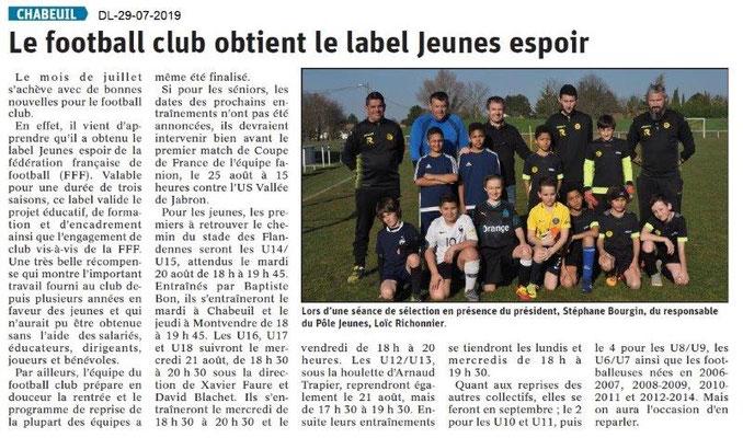 Dauphiné Libéré du 29-07-2019- Football de Chabeuil