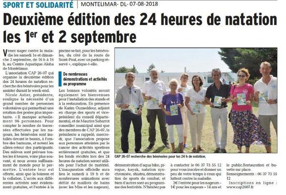 Dauphiné Libéré du 07-08-2018- Sport et solidarité à Montélimar