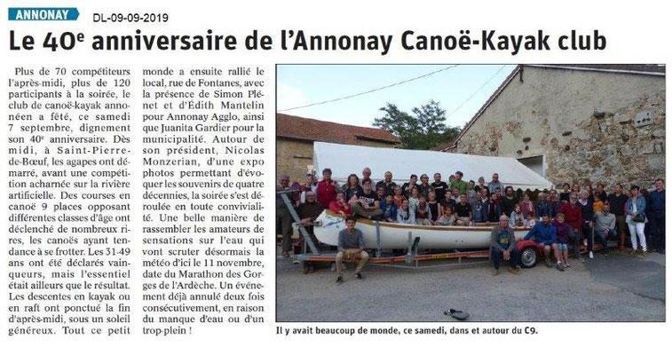 Dauphiné libéré du 09-09-2019- Canoë kayak-club d'Annonay