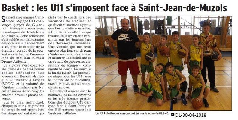 Dauphiné Libéré du 30-04-2018-Basket- Guilherand-Granges