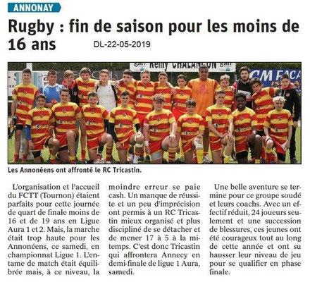 Le Dauphiné Libéré du 22-05-2019- Rugby d'Annonay