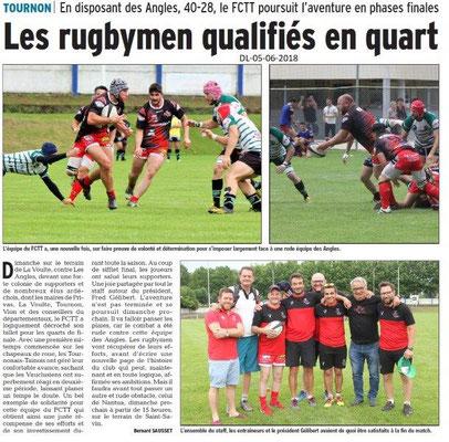 Dauphiné Libéré du 05-06-2018- FC Tain-Tournon Rugby qualifié