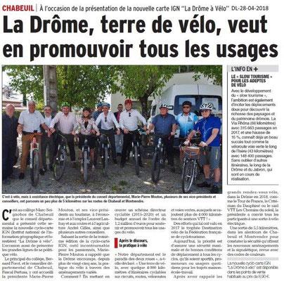 Dauphiné Libéré du 28-04-2018- La Drôme à vélo-Chabeuil
