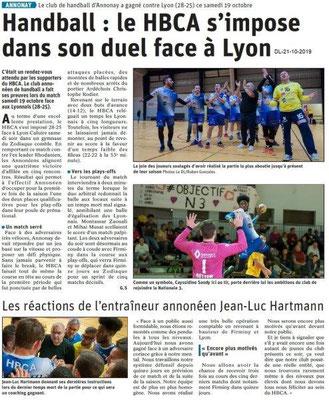 Dauphiné libéré du 21-10-2019- Handball d'Annonay