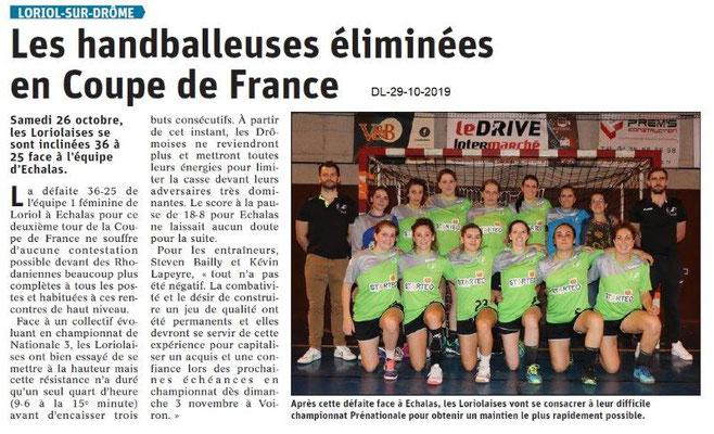 le Dauphiné Libéré du 29-10-2019- Les Handballeuses de Loriol