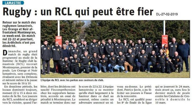 Dauphiné Libéré du 27-02-2019- Rugby de Lamastre