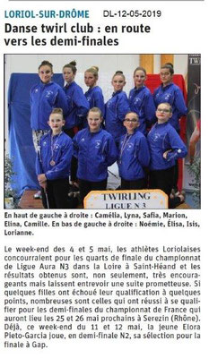 Le Dauphiné Libéré du 12-05-2019- DanseTwirl Club de Loriol
