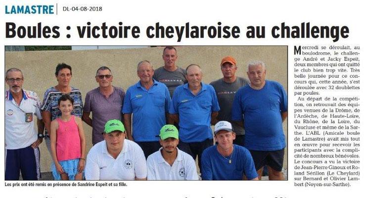 Dauphiné Libéré du 04-08-2018- Concours de boules à Lamastre