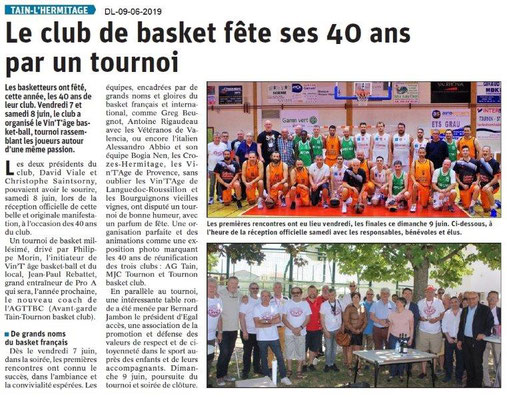 Dauphiné Libéré du 09-06-2019-Basket Tain fête ses 40 ans
