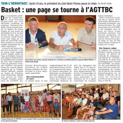 Dauphiné Libéré du 02-07-2018- L'AGTTBasket Club
