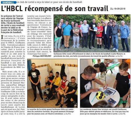 Dauphiné libéré du 19-09-2019- Handball de Loriol