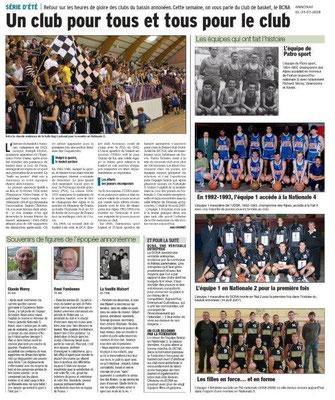 Dauphiné Libéré du 24-07-2018- Historique du Basket à Annonay