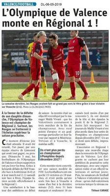 Le Dauphiné Libéré du 06-05-2019- L'Olympique de Valence