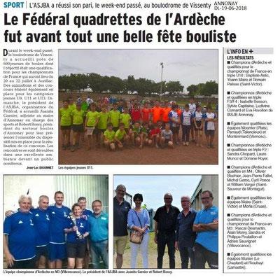 Dauphiné Libéré du 19-06-2018- Joueurs de Boules à Vissenty