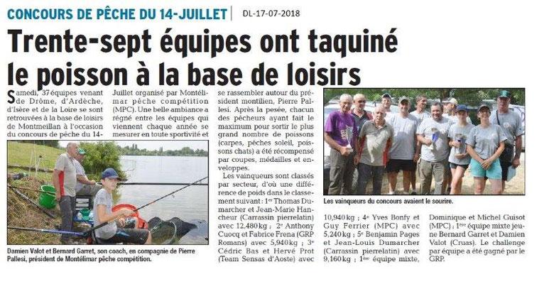 Dauphiné Libéré du 17-07-2018- Concours de Pêche à Montmeillan