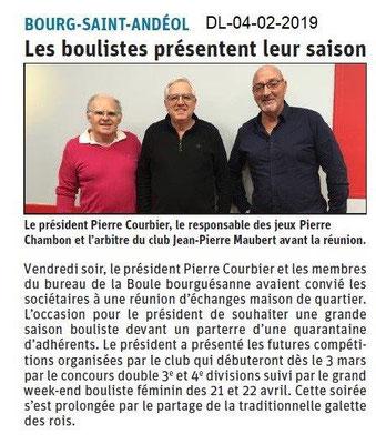 Dauphiné Libéré du 04-02-2019- Les Bouliste de Bourg Saint-Andéol