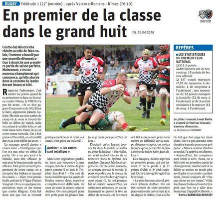 Le Dauphiné Libéré du 23-04-2019- Valence-Romans rugby