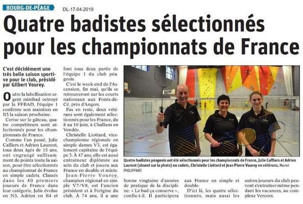Le Dauphiné Libéré du 17-04-2019- Badminton de Bourg De Péage
