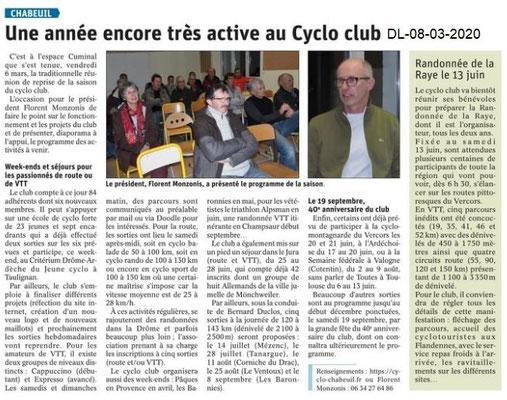 Dauphiné libéré du 08-03-2020-Cyclo club Chabeuil