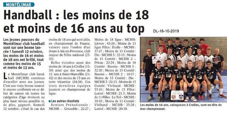 Dauphiné libéré du 16-10-2019- Handball de Montélimar