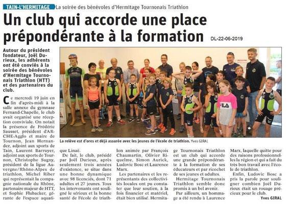 Dauphiné Libéré du 22-06-2019- Ecole de triathlon de Tain