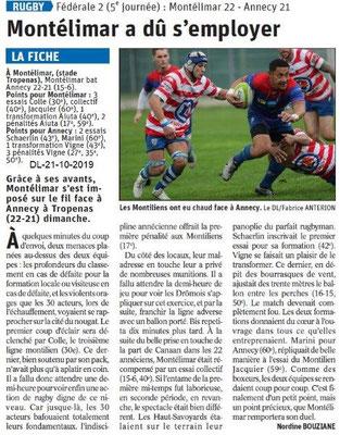 Dauphiné libéré du 21-10-2019- Rugby de Montélimar