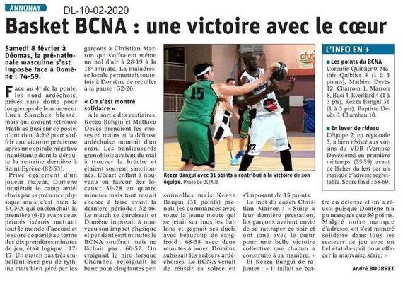 Le Dauphiné Libéré du 10-02-2020- Basket d'Annonay