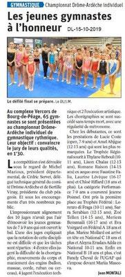 Dauphiné libéré du 15-10-2019- Gymnastique à Bourg de Péage