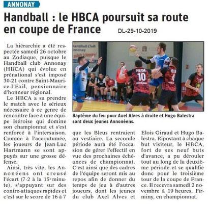 le Dauphiné Libéré du 29-10-2019- Handball d'Annonay