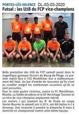 Dauphiné libéré du 03-03-2020- Futsal PLV vice-Champion