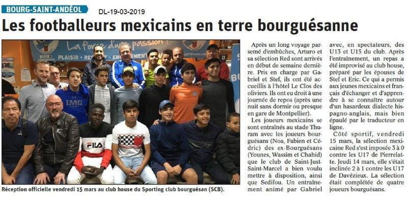Dauphiné Libéré du 19-03-2019- JPMaubert accueille une sélection mexicaine de foot à BSA