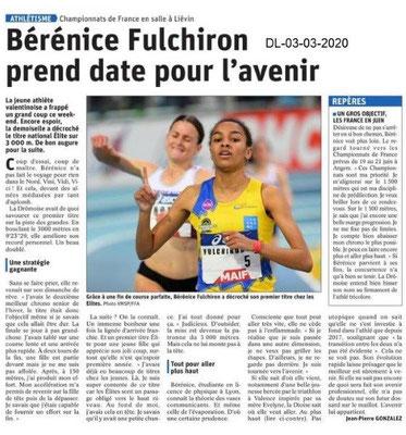 Dauphiné libéré du 03-03-2020- Championne de France