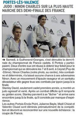 Dauphiné Libéré du 14-03-2018 Judo-Portes-lès-Valence