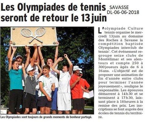 Dauphiné Libéré du 06-06-2018- Olympiades tennis à Savasse