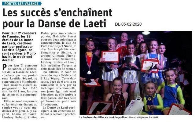 Le Dauphiné Libéré du 05-02-2020- Danse de Laeti de PLV