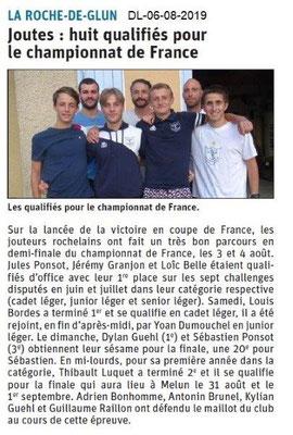 Dauphiné Libéré du 06-08-2019- Qualifiés Joutes de La Roche de Glun.