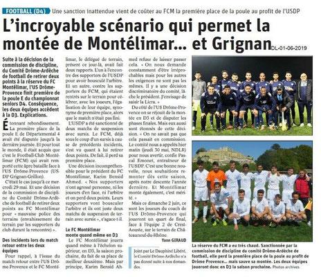 Le Dauphiné libéré du 01-06-2019- Football de Montélimar