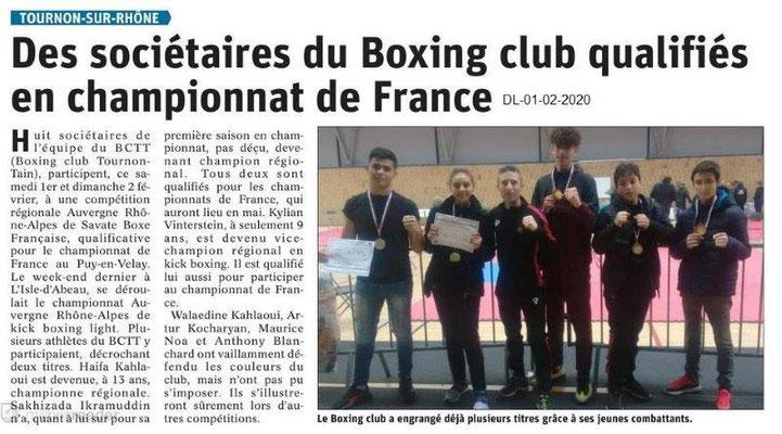 Le Dauphiné Libéré du 01-02-2020- Boxing club Tournon