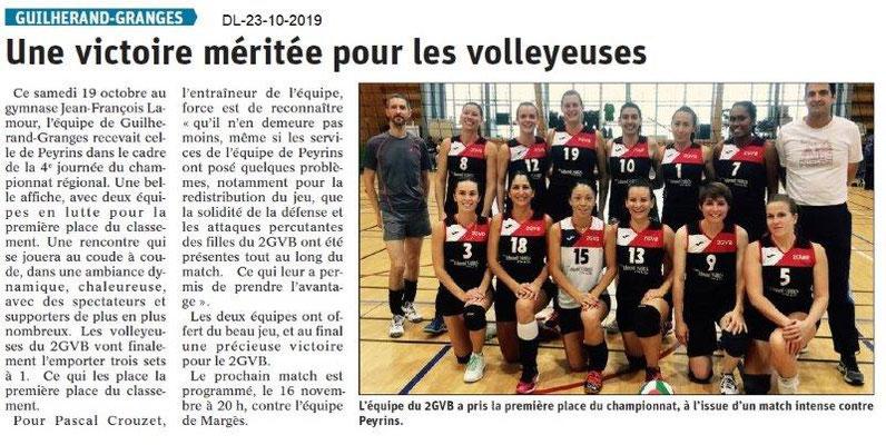 Dauphiné libéré du 23-10-2019- Les volleyeuses de Guilherand