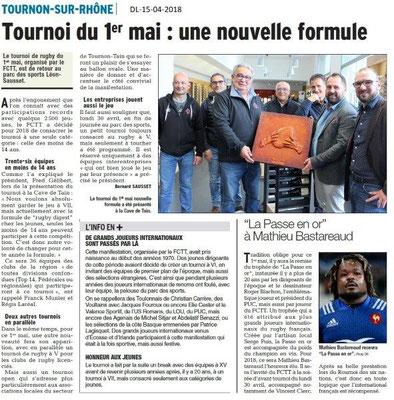 Dauphiné Libéré du 15-04-2018-Tournoi Rugby du 1er mai-Tournon